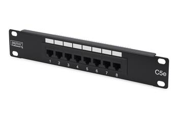 Digitus CAT 5e patch panel, nestíněný, 8 portů RJ45, 8P8C LSA, 1U, 254 mm (10