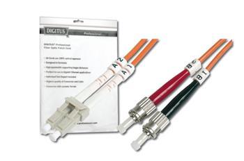DIGITUS Fiber Optic Patch Cord, LC to ST, Multimode 50/125 µ, Duplex Length 1m