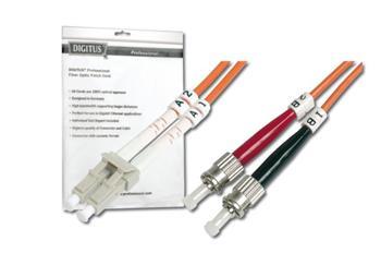 Digitus Fiber Optic Patch Cable, LC to ST,Multimode 62.5/125 µ, Duplex 1 m