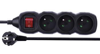 Emos prodlužovací šňůra P1311C - 3 zásuvky, 1.5m, s vypínačem, černá