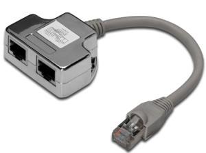 Digitus Adaptér, Patch Cable, CAT5E RJ45 M, 2 X RJ45 F, 0,19metru