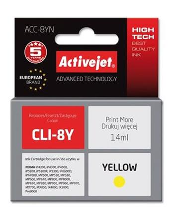 ActiveJet Ink cartridge Canon CLI-8 Yellow WITH CHIP - 14 ml ACC-8Y
