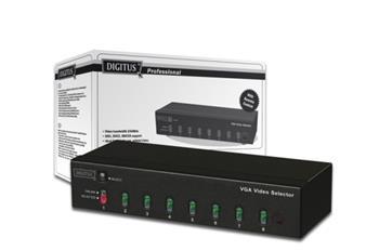 DIGITUS VGA Video Volič, 1 Monit., 8 PC, dálkové ovládání, bez zdroje napájení, 9 X HDSUB 15 samice, bez kabelu