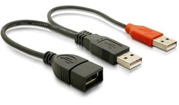 Napájecí kabel USB A samice z 2xUSB A samec. délka 22,5 cm