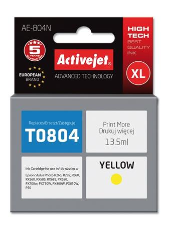 ActiveJet Ink cartridge Eps T0804 R265/R360/RX560 Yellow - 12 ml AE-804