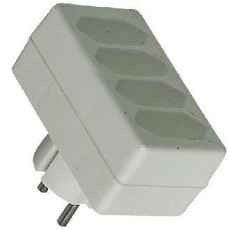 PremiumCord rozčtyřka 230V, 4x plochá zásuvka