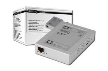 DIGITUS PoE PD rozbočovač Vstup:802.3af PoE, Výstup: 5/7,5/9/12 V. včetně 2,5 mm Jack/Jack kabelu (Poe integrátor pro n