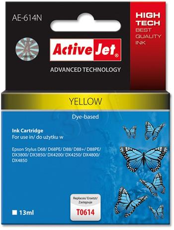 ActiveJet Ink cartridge Eps T0614 D68/D88/DX3800 Yellow - 13 ml AE-614