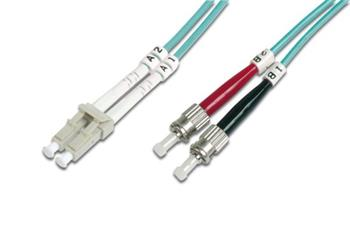 DIGITUS Fiber Optic Patch Cord, LC to ST, Multimode 50/125 µ, Duplex Length 10m, Class OM3