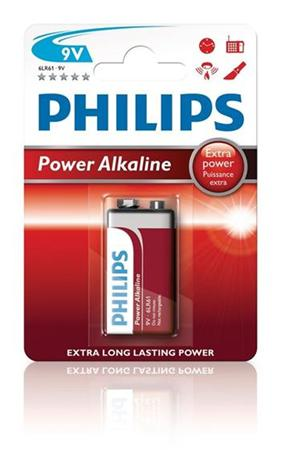 Philips baterie 9V PowerLife, alkalická - 1ks