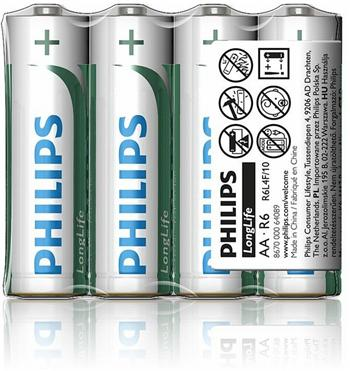 Philips baterie AA LongLife zinkochloridová - 4ks