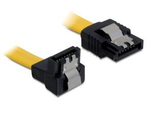Kabel SATA III 70 cm, přímý/dolů, žlutý, kovová západka