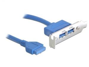 Delock záslepka 1x interní 19pin USB 3.0 > 2 x USB 3.0-A samice externí - low profile