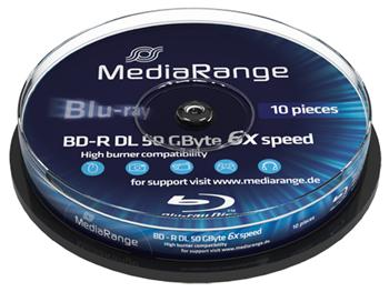 MEDIARANGE BD-R BLU-RAY 50GB 6x Dual Layer spindl 10ks Inkjet Printable