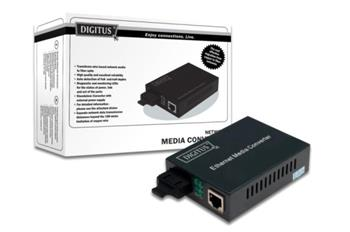 DIGITUS Media Converter, Multimode, 10/100Base-TX to 100Base-FX, Incl. PSU ST connector, Up to 2km