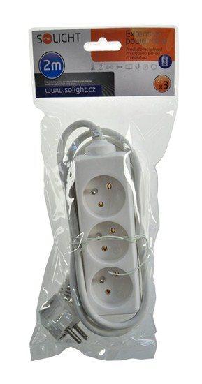 Solid 3z predlžovací prívod, 2m, 3 x 1mm2, biely