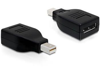 Delock adaptér Displayport mini samec > Displayport samice, černý