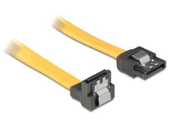 Delock kabel HDD SATA 50 cm přímý/dolů, žlutý, kovová západka