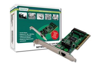 Digitus Gigabit Ethernet PCI karta 32-bit, včetně držáku s nízkým profilem, čipová sada RTL8169SC