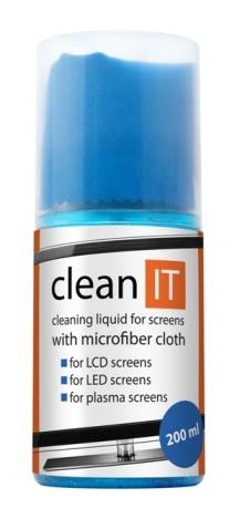 CLEAN IT Čistící roztok na obrazovky s utěrkou ve víčku, 200ml