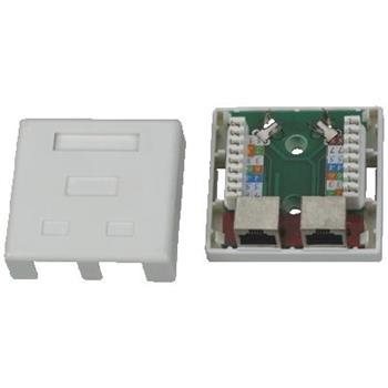DATACOM Datová zásuvka STP CAT5E 2xRJ45 na omítku bílá