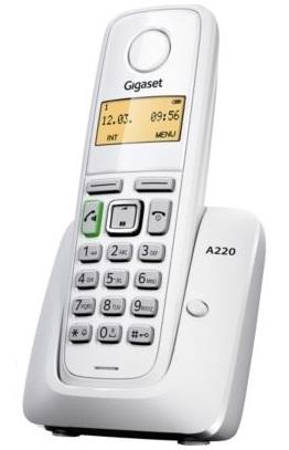 SIEMENS Gigaset A220-WHITE - DECT/GAP bezdrátový telefon, barva bílá