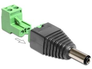 Delock Adaptér DC 2,1 x 5,5 mm samec > svorkovnice 2 piny 2-části