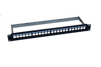 Modulární patch panel prázdný pro 24x keystone modul STP černý 1U