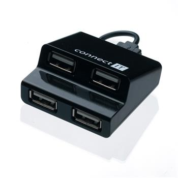 CONNECT IT USB hub 4 porty STEP - černý