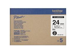 Brother - HGE651V5, žlutá / černá , 24 mm (pro PT 9xxx) - balení 5 ks