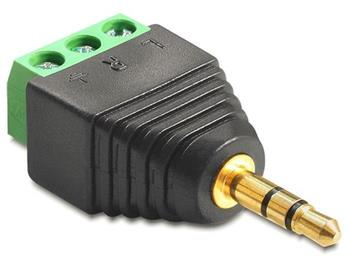 Delock Adaptér stereo jack 3,5 mm samec > svorkovnice 3 piny