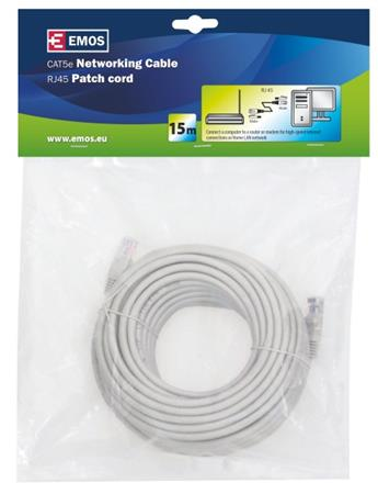 Emos Patch kabel UTP, CAT 5e, AWG26, PVC, šedý, 15m