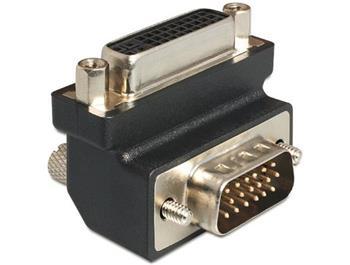Delock Adaptér DVI 24+5 pin samice > VGA 15 pin samec 90°
