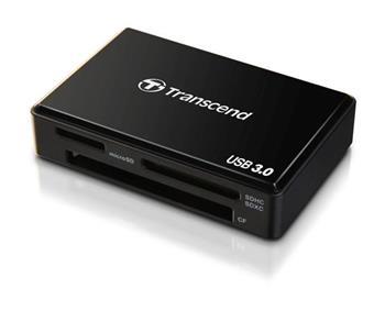 Transcend USB 3.0 čtečka paměťových karet, černá -SDHC, SDXC, microSDHC, microSDXC, MS (MSXC), Compact Flash (UDMA7)
