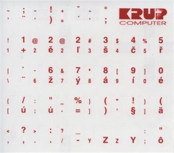 Premium CZ přelepky pro klávesnice s cizím layoutem - červené písmo, průhledné pozadí