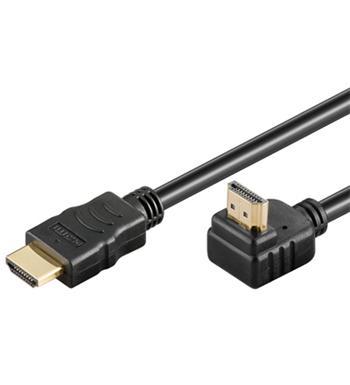 PremiumCord HDMI High Speed+Ethernet kabel, zlacený zahnutý konektor 90° 2m