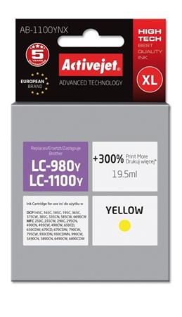 ActiveJet ink cartr. Brother LC-1100Y - 15 ml - 100% NEW AB-1100YNX (AB-1100Y)