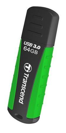 Transcend 64GB JetFlash 810, USB 3.0 flash disk, zeleno-černý, odolá nárazu, tlaku, prachu i vodě