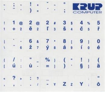 Premium CZ přelepky pro klávesnice s cizím layoutem - modré písmo, průhledné pozadí