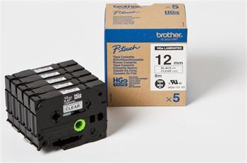 Brother - HGE131V5, průhledná / černá, 12 mm (pro PT 9xxx) - balení 5 ks