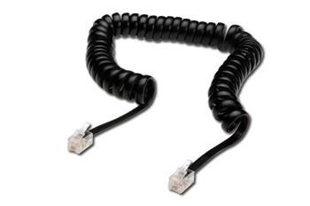 Digitus kabel RJ10 pro telefonní sluchátko, kroucený, černý, délka 2 metry