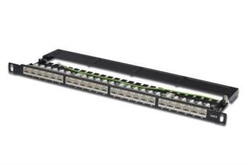 Digitus CAT 6 Patch Panel, stíněný, 24 portů RJ45 s uzávěrem, 8P8C, LSA, 0,5U, 19
