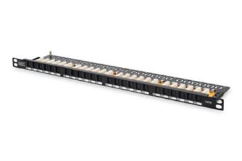 Digitus CAT 6 patch panel, nestíněný,24-Port RJ45, s klapkou, 8P8C, LSA, 0.5U, 19