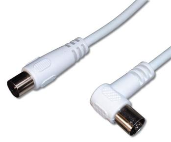 PremiumCord TV kabel M/F konektor 90°, 75 Ohm 5m