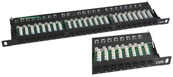 UTP 0,5U Patch panel S-line 24 port Cat.6 Black