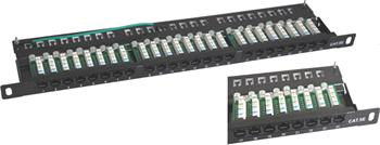 UTP 0,5U Patch panel S-line 24 port Cat.5E Black