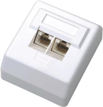 DATACOM Datová zásuvka UTP CAT5E 2xRJ45 na omítku 45st. bílá