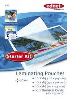 Ednet Laminovací folie Startovací Kit 80 mic. (10 x A4, 10 x A5, 10 x A6, 10 x Vizitky)