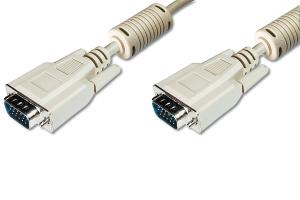 Digitus připojovací VGA kabel, 2xstíněný, 2xferity, šedá, AWG28, CU, poniklované konektory, 3m