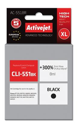 ActiveJet ink cartr. Canon CLI-551Bk premium with chip - 10 ml AC-551BR